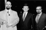 SSSJ founder Jacob Birnbaum, Rabbi Norman Lamm, David Geller at Simchat Torah celebration for Soviet Jewry, Dag Hammarskjold Plaza, New York City. October, 1969.